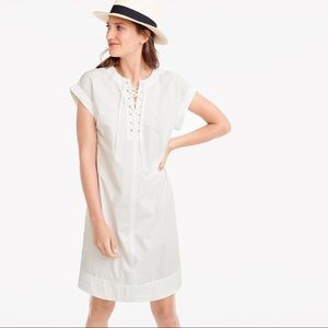 J. Crew Tall Lace Up Shirtdress in White